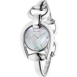 Gucci Women's Watch YA139506 Horsebit Small Diamonds Mother of Pearl