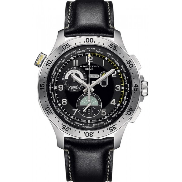 Buy Hamilton Men's Watch Khaki Aviation Worldtimer Chrono Quartz H76714735