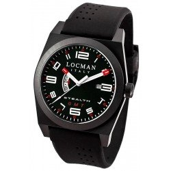 Locman Men's Watch Stealth Dual Time Quartz 0200BKBKFRD1GOK