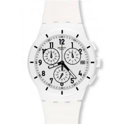 Swatch SUSW402 Chrono Plastic Twice Again White Chronograph Unisex Watch