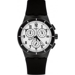 Swatch Unisex Watch Chrono Plastic Twice Again Black SUSB401