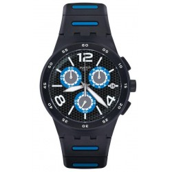 Swatch Men's Watch Chrono Plastic Black Spy SUSB410