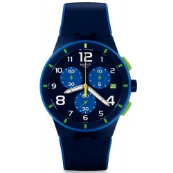 Swatch Men's Watch Chrono Plastic Bleu Sur Bleu SUSN409