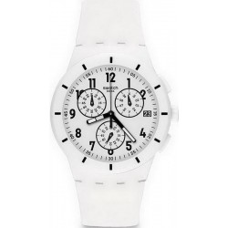 Swatch Unisex Watch Chrono Plastic Twice Again White SUSW402