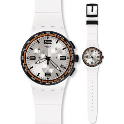 Swatch Unisex Watch Chrono Plastic White Blades SUSW405