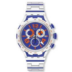 Swatch Men's Watch Irony Xlite Chemical Blue Chronograph YYS4011AG